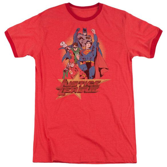 Jla Raise Your Fist Adult Heather Ringer Red