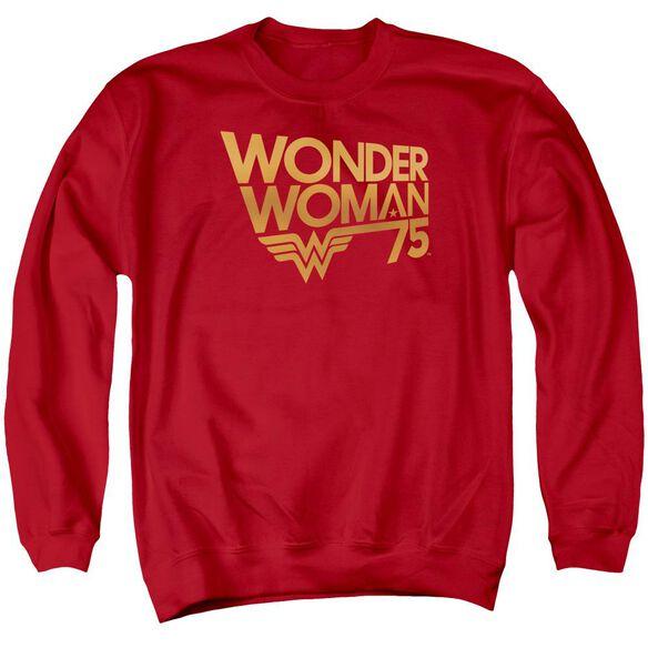 Wonder Woman Wonder Woman 75 Th Anniversary Gold Logo Adult Crewneck Sweatshirt