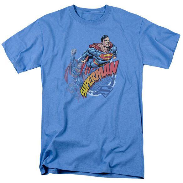 Superman Up Up And Away Short Sleeve Adult Carolina Blue T-Shirt