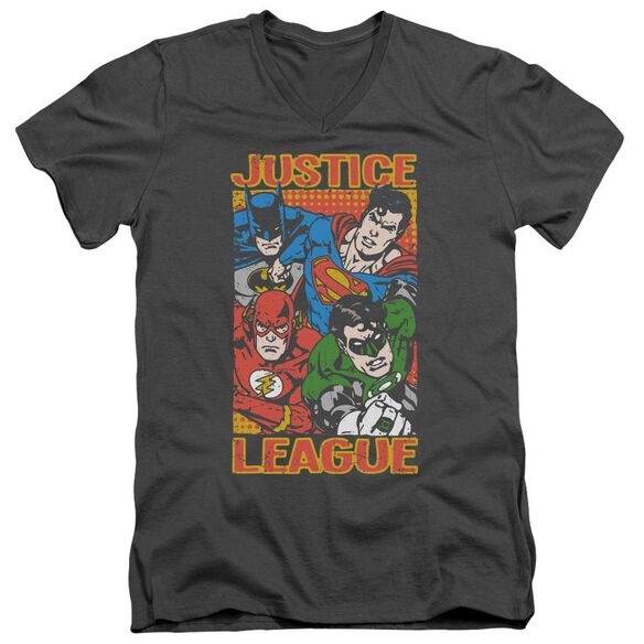 Jla Hero Mashup Short Sleeve Adult V Neck T-Shirt