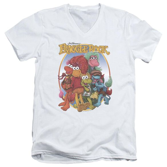 Fraggle Rock Group Hug Short Sleeve Adult V Neck T-Shirt