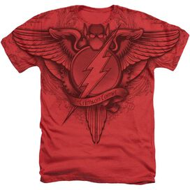 Jla Flash Sublimation Winged Logo Adult Heather