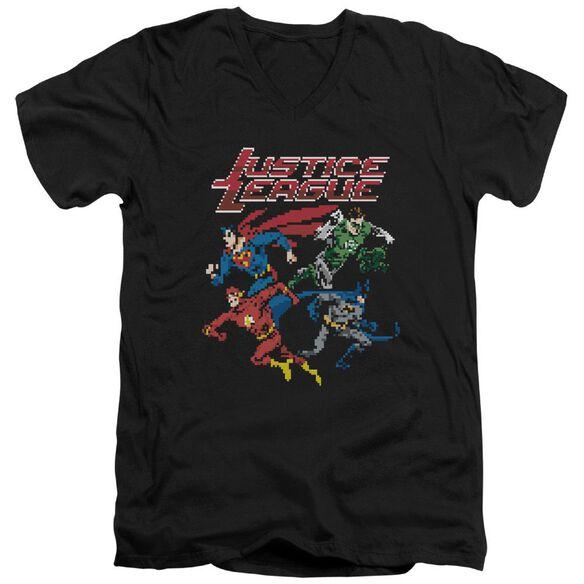 Jla Pixel League Short Sleeve Adult V Neck T-Shirt