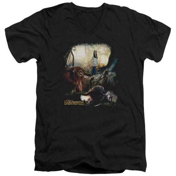 Labyrinth Sarah & Ludo Short Sleeve Adult V Neck T-Shirt