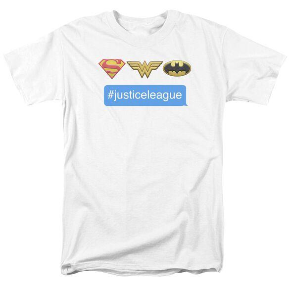 Dc Hashtag Jla Short Sleeve Adult White T-Shirt