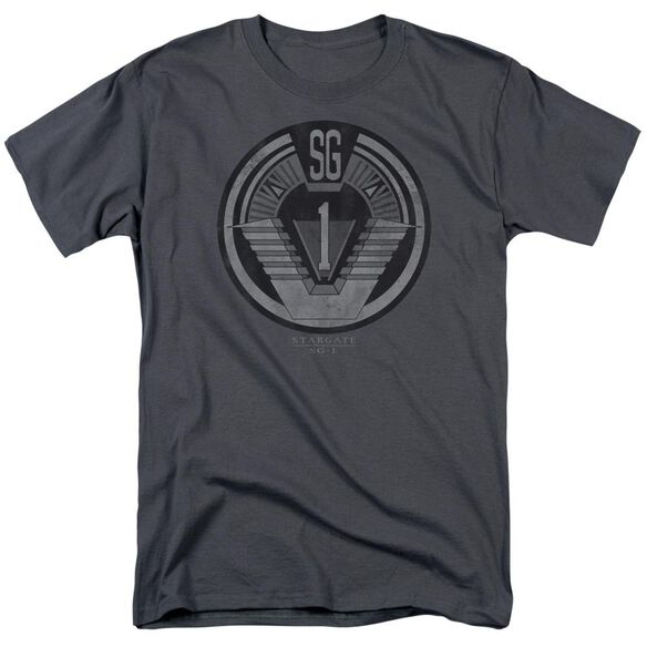 Sg1 Team Badge Short Sleeve Adult Charcoal T-Shirt