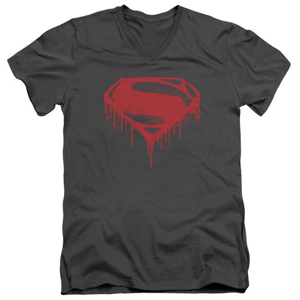 Batman V Superman Splattered Short Sleeve Adult V Neck T-Shirt