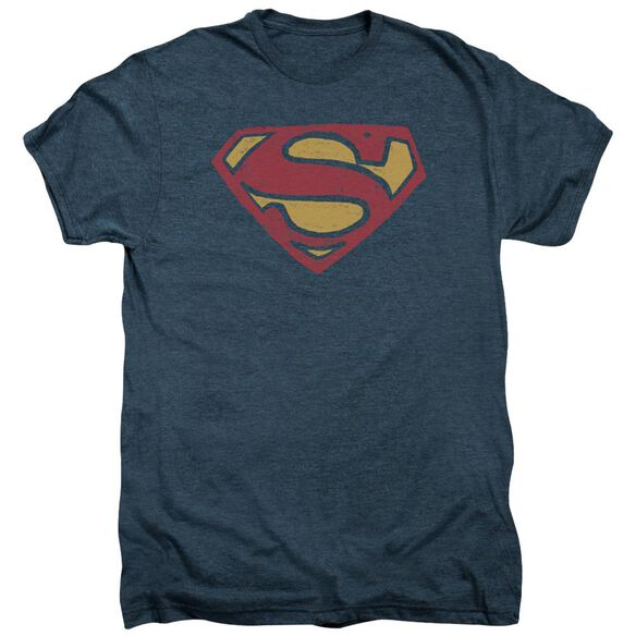 Superman Super Rough Short Sleeve Adult Premium Tee Indigo T-Shirt