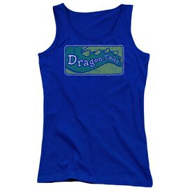 Dragon Tales Logo Distressed Juniors Tank Top Royal
