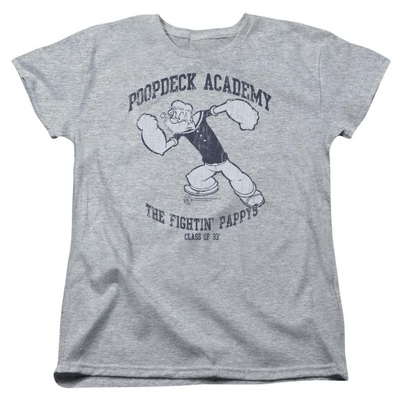 Popeye Poopdeck Academy Short Sleeve Womens Tee Athletic T-Shirt