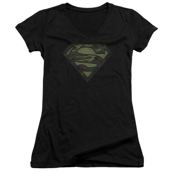 Superman Camo Logo Distressed - Junior V-neck - Black