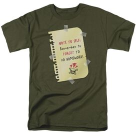 Remember To Forget Short Sleeve Adult Military Green T-Shirt