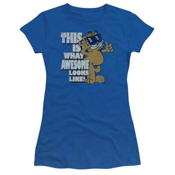 Garfield Awesome Short Sleeve Junior Sheer Royal T-Shirt