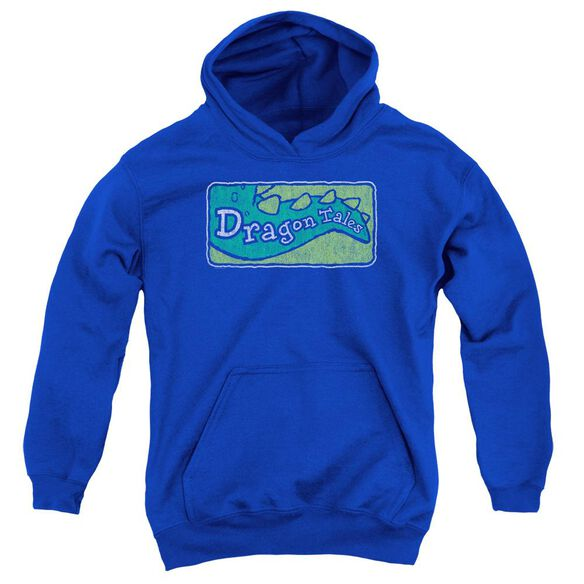 Dragon Tales Logo Distressed Youth Pull Over Hoodie Royal