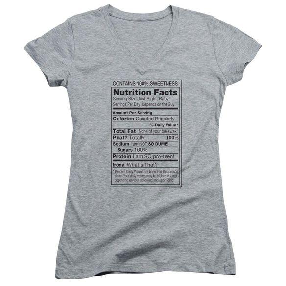 100% Sweetness Junior V Neck Athletic T-Shirt