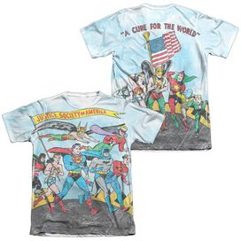 Jla World Cure (Front Back Print) Adult Poly Cotton Short Sleeve Tee T-Shirt