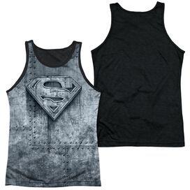 Superman Made Of Steel Adult Poly Tank Top Black Back