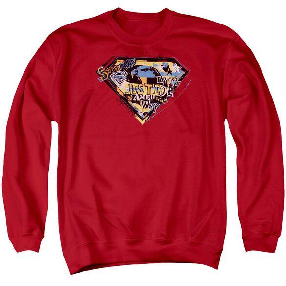 Superman American Way - Adult Crewneck Sweatshirt - Red