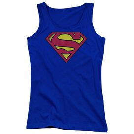 Superman Classic Logo Juniors Tank Top Royal