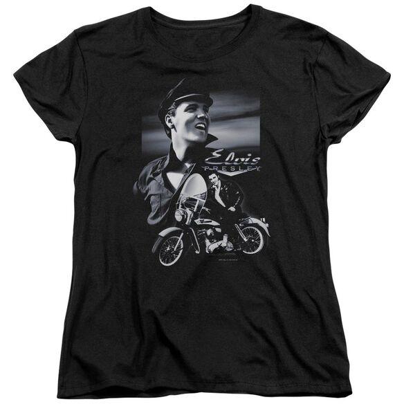 Elvis Presley Motorcycle Short Sleeve Womens Tee Black T-Shirt