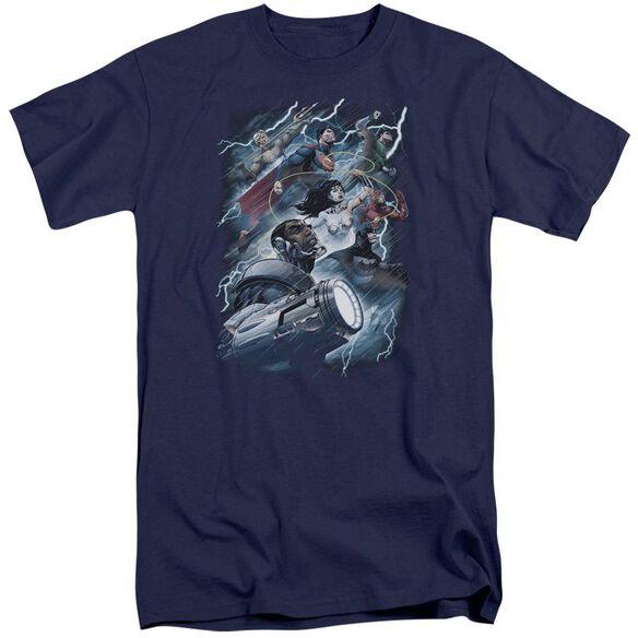 Jla Ride The Lightening Short Sleeve Adult Tall T-Shirt