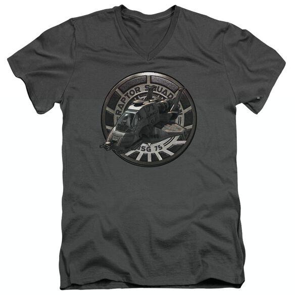BSG RAPTOR SQUADRON - S/S ADULT V-NECK - CHARCOAL T-Shirt