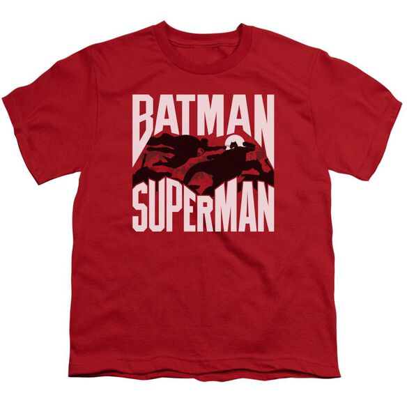 Batman Vs Superman Silhouette Fight Short Sleeve Youth T-Shirt