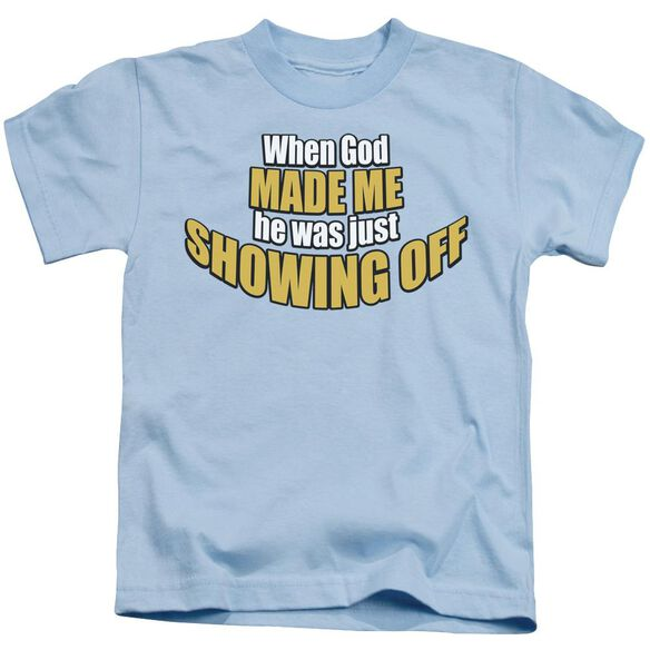Showing Off Short Sleeve Juvenile Light Blue T-Shirt