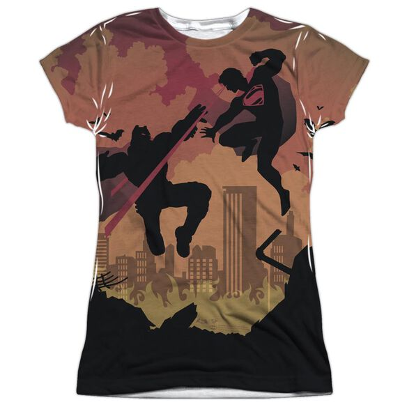 Batman V Superman Silhouette Fight Short Sleeve Junior Poly Crew T-Shirt