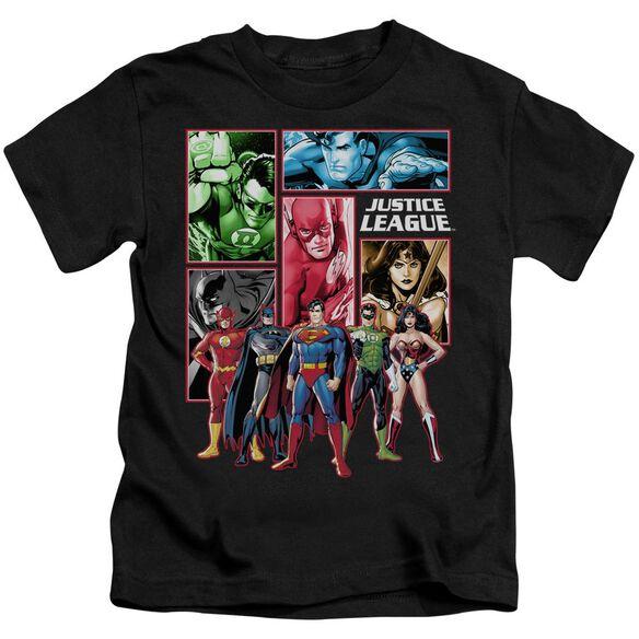 Jla Justice League Panels Short Sleeve Juvenile Black T-Shirt