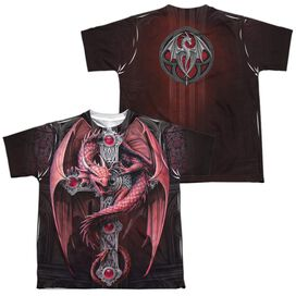 Anne Stokes Gothic Guardian (Front Back Print) Short Sleeve Youth Poly Crew T-Shirt