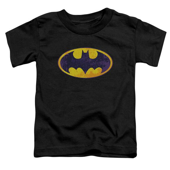 Batman Bm Neon Distress Logo Short Sleeve Toddler Tee Black Sm T-Shirt