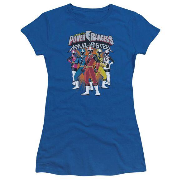 Power Rangers Team Lineup Short Sleeve Junior Sheer Royal T-Shirt