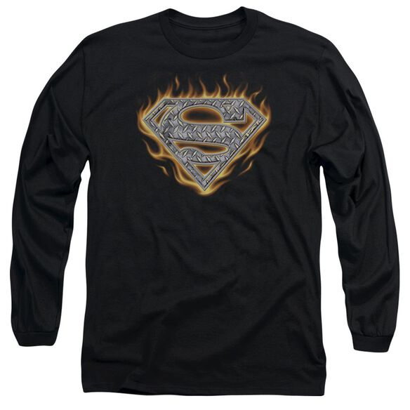 Superman Steel Fire Shield Long Sleeve Adult T-Shirt