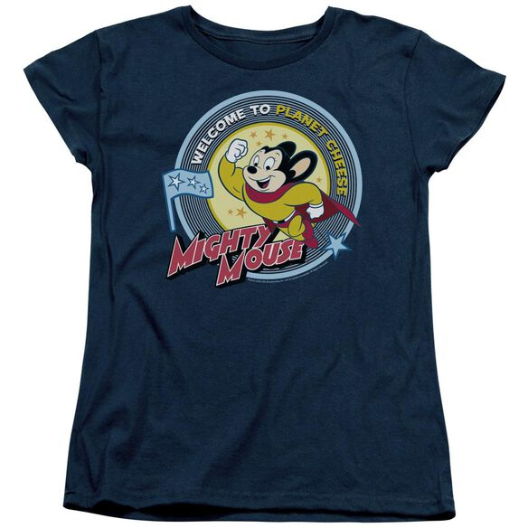 MIGHTY MOUSE PLANET CHEESE - S/S WOMENS TEE - NAVY T-Shirt