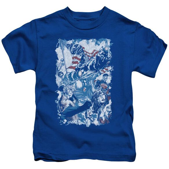 Jla American Justice Short Sleeve Juvenile Royal Blue Md T-Shirt
