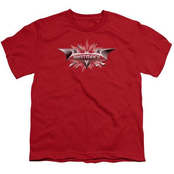 Dark Knight Beveled Chrome Shield Short Sleeve Youth T-Shirt