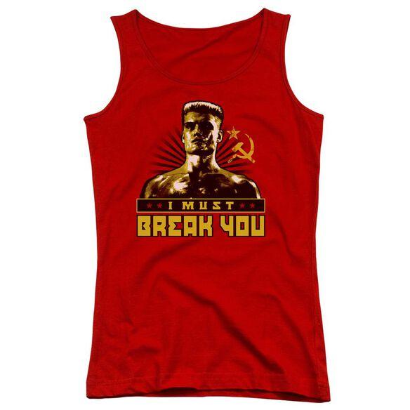 Rocky Iv I Must Break You Juniors Tank Top