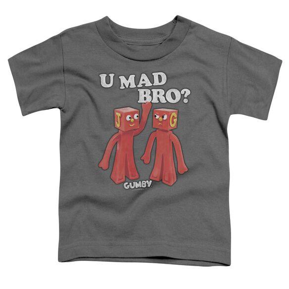 Gumby U Mad Bro Short Sleeve Toddler Tee Charcoal T-Shirt