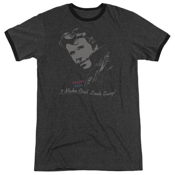 Happy Days Cool Fonz Adult Heather Ringer Charcoal