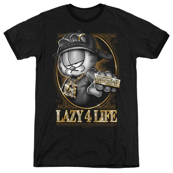 Garfield Lazy 4 Life - Adult Heather Ringer - Black