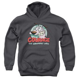 Courage The Cowardly Dog Courage-youth Pull-over Hoodie - Charcoal