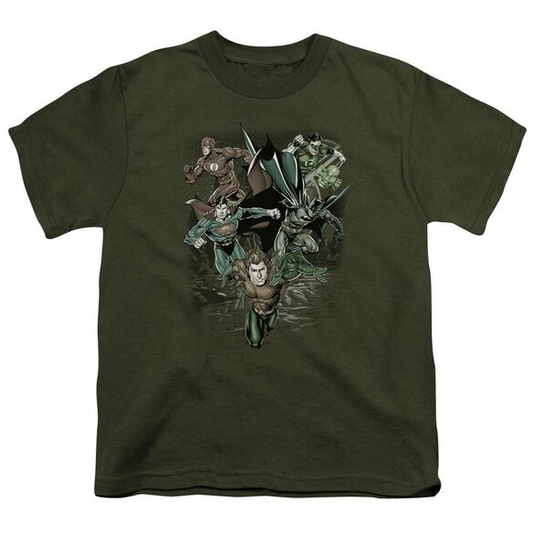 Jla Spacing Out Short Sleeve Youth Military T-Shirt