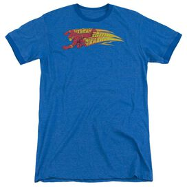 DC FLASH FASTEST MAN ALIVE - ADULT HEATHER RINGER - ROYAL BLUE