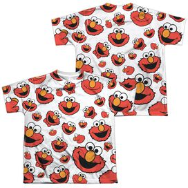 Sesame Street Elmo Face Pattern (Front Back Print) Short Sleeve Youth Poly Crew T-Shirt