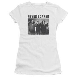 Three Stooges Never Scared Short Sleeve Junior Sheer T-Shirt