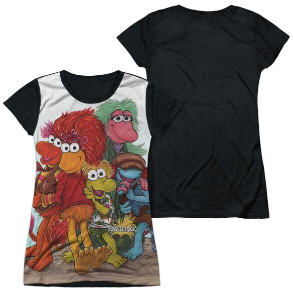 Fraggle Rock Group Shot Short Sleeve Junior Poly Black Back T-Shirt