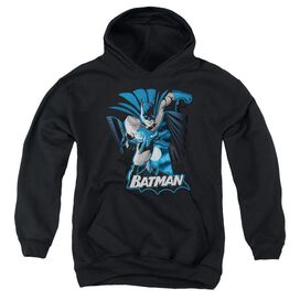 Jla Batman Blue & Gray-youth Pull-over Hoodie - Black