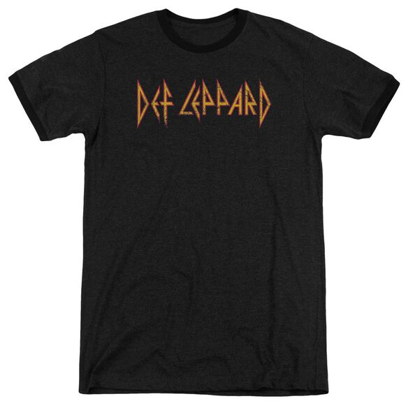 Def Leppard Horizontal Logo Adult Heather Ringer