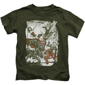 Jla Green And Red Short Sleeve Juvenile Military Green T-Shirt